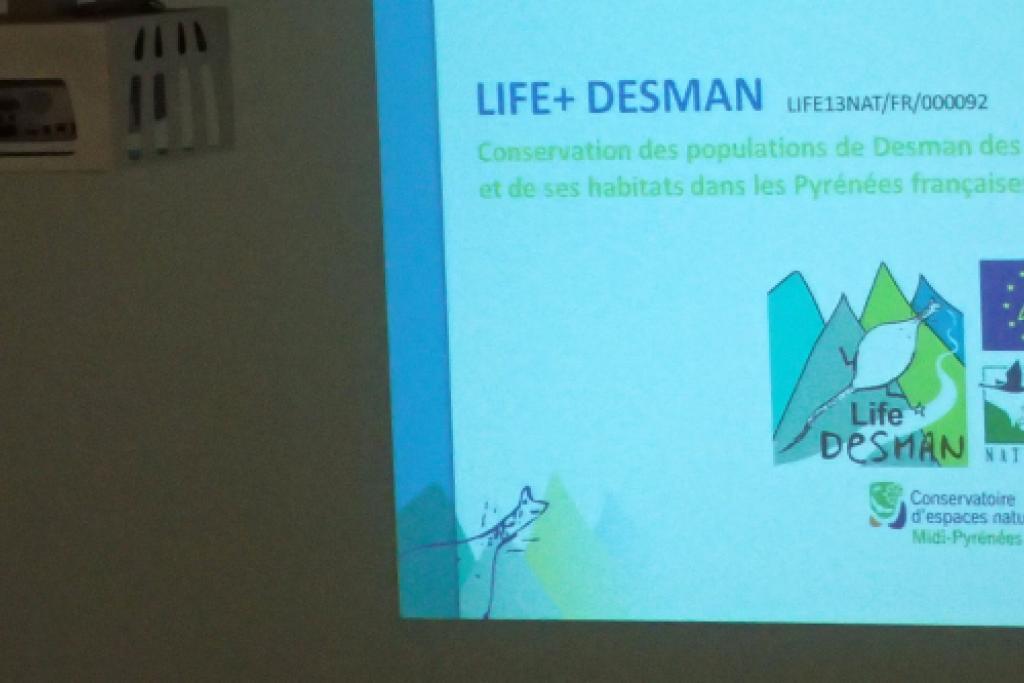 Présentation du Life+ Desman lors du séminaire de lancement de l'OB-MP © Lucie Hatterley